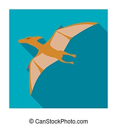 Dinosaur Pterodactyloidea icon in flat style isolated on...
