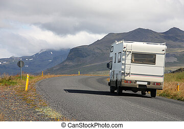 Motorhome in Iceland - RV in Iceland. Camper van on the road...