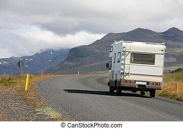 Motorhome in Iceland - RV in Iceland. Camper van on the road...