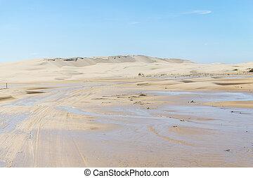 Dunes in the Lagoa do Peixe lake