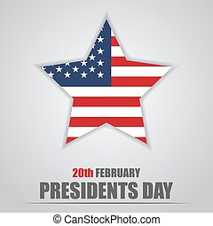 Presidents Day. Star with USA flag inside