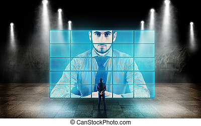 Studying a big screen - Young businessman looking at a big...
