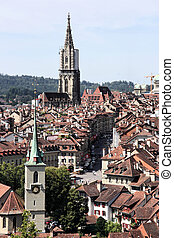 Berne - Bern, Switzerland. Beautiful old town. Prominent...