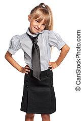 Little girl in school uniform - Portrait of emotional little...