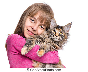 Little girl with Maine Coon kitten - Happy little girl...