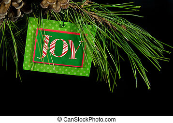Green Card - Christmas sign hanging from pine bough.