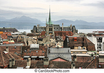 Lausanne - Old city on rainy day - Lausanne, Switzerland....