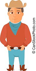 Cartoon cowboy character on white background. Vector...