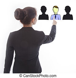 Young businesswoman selecting virtual online friends...