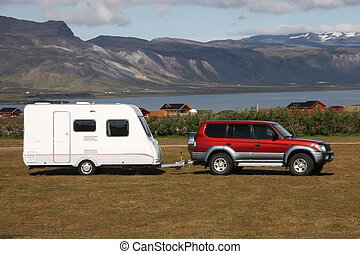 Camping trailer - Parked red generic jeep vehicle with a...
