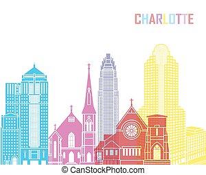 Charlotte skyline pop in editable vector file