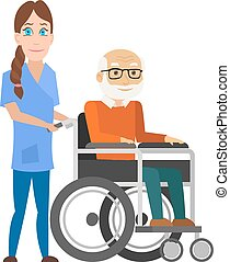 Young nurse pushing wheelchair with disabled old man. Helping elderly and sick people. Vector