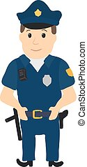 Cartoon policeman character on white background. Vector...