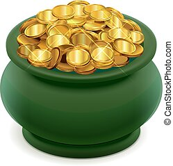 Green pot full of gold coins. Isolated on white vector...