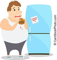 Cartoon Fat Man eating Burger near the refrigerator. Vector