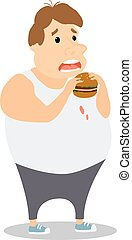 Cartoon Fat Man eating Burger. Vector