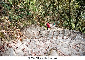 Nepal - 25 December 2016 :: Hiking to Himalaya mountain in Nepal