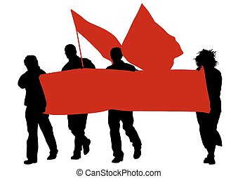 Red banner and flag - People of with large flags on white...