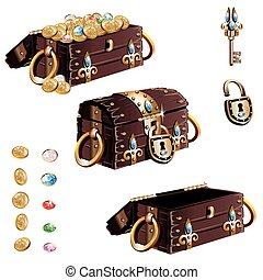 treasure chest with gold decorated