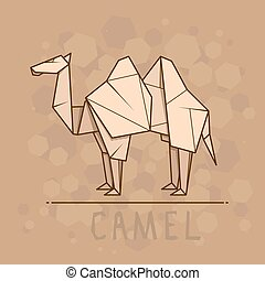Vector illustration paper origami of camel. - Vector simple...