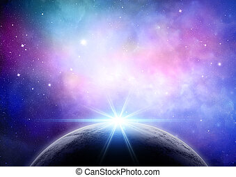 Abstract space background with fictional planet - Abstract...