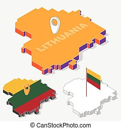 Lithuania  flags on map element and 3D isometric shape isolated on background, vector illustration