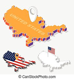 United States flag on map element with 3D isometric shape isolated on background, vector illustration