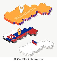 Slovakia flags on map element and 3D isometric shape isolated on background, vector illustration