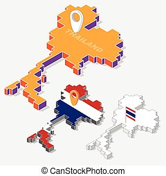 Thailand flags on map element and 3D isometric shape isolated on background, vector illustration