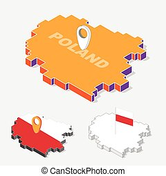 Poland flags on map element with 3D isometric shape isolated on background, vector illustration