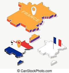 France flags on map element with 3D isometric shape isolated on background, vector illustration