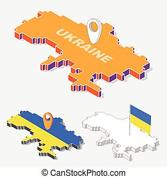 Ukraine flags on map element with 3D isometric shape isolated on background, vector illustration