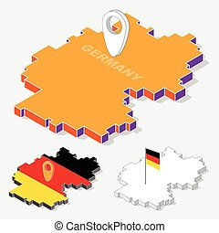 Germany flags on map element with 3D isometric shape isolated on background, vector illustration