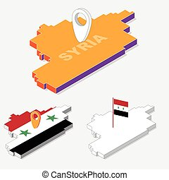 Syria flags on map element and 3D isometric shape isolated on background, vector illustration