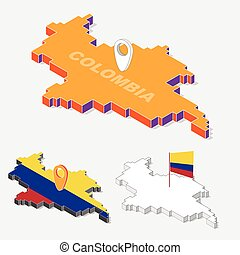 Colombia flags on map element and 3D isometric shape isolated on background, vector illustration