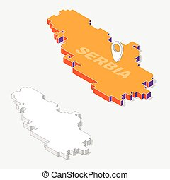 Serbia flags on map element and 3D isometric shape isolated on background, vector illustration