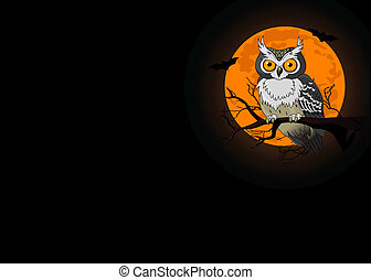 Owl night background - Owl sitting upon a tree branch with a...