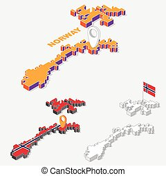 Norway flags on map element and 3D isometric shape isolated on background, vector illustration
