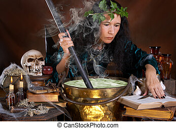 Green poison - Halloween witch stirring in green poison soup...