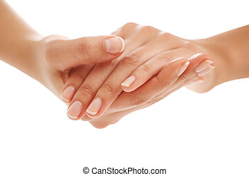 Skin care. Hands in close-up