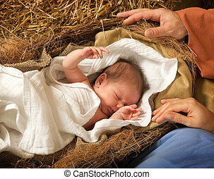 Christ is born - 20 days old baby sleeping in a christmas...