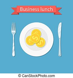 Business lunch concept infographic. coin on plate isolated...