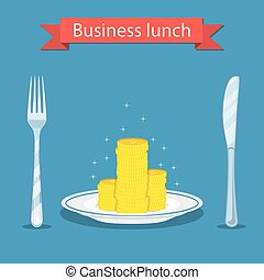 Business lunch concept i - Business lunch concept. coin on...