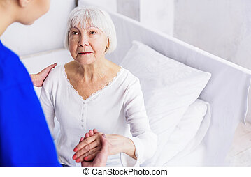 Therapeutic getting up female retire from bed - Doctor...