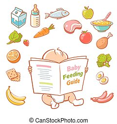 little baby  reading food guide