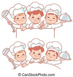 Children as little chefs. Banner. - Cartoon kids as little...