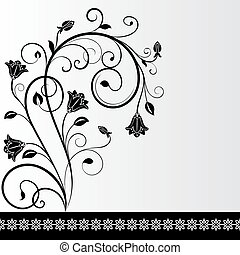 Black and white flower card design with copy space.