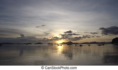 Beautiful sunset over sea. - Marine tropical sunset over the...