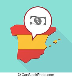 Map of Spain with a rupee bank note icon - Illustration of a...