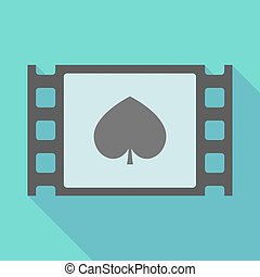 Long shadow film frame with the spade poker playing card...